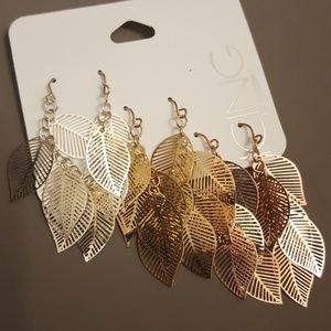 3pk Leaf Earrings